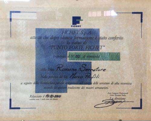 certificazione cilindri fichet